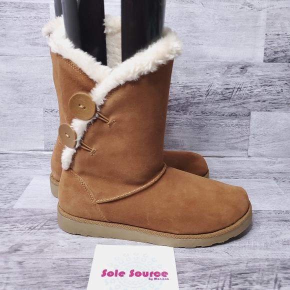 So Junebug Suede Fur Boots Tan Sz 75